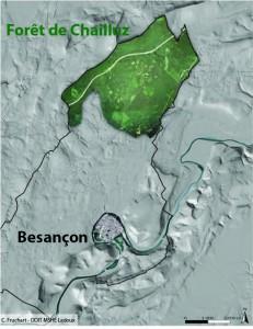La forêt de Chailluz (vue aérienne) superposée au relevé LiDAR LIEPPEC - C. Fruchart - ODIT- MSHE Ledoux